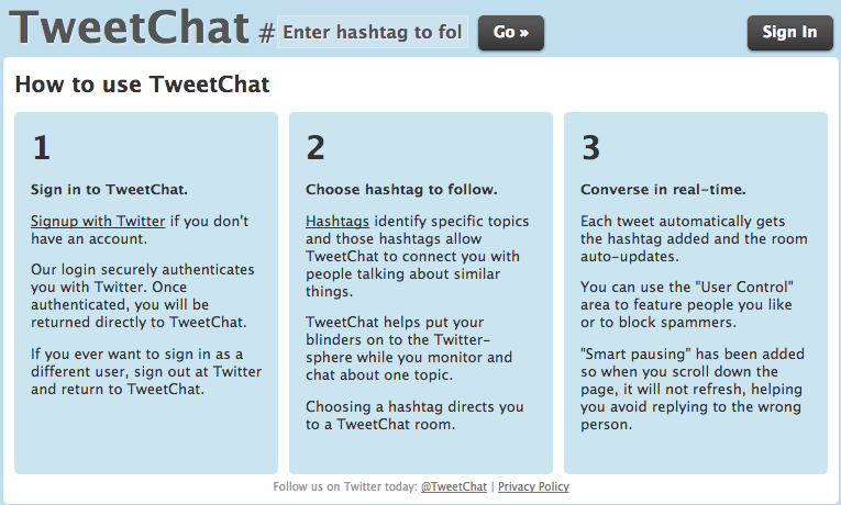 Tweetchat instructions